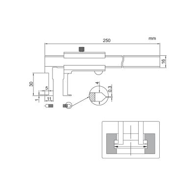 Schema di calibro con nonio per cave interne – Cod. Accud 145-000-11/13.