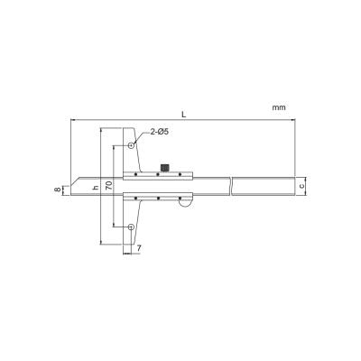 Schema di calibro con nonio di profondità – Cod. Accud 175-000-11/13.