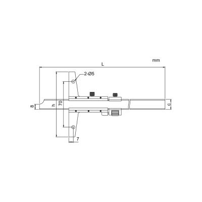 Schema di calibro con nonio di profondità – Cod. Accud 178-000-11/13.