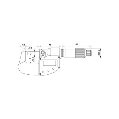 Schema di micrometro digitale IP65 - Cod. Accud 313.