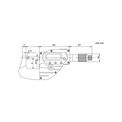 Schema di micrometro digitale IP65 misura rapida - Cod. Accud 314.