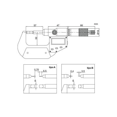 Schema di micrometro digitale a lama – Cod. Accud 316-000-01/02.