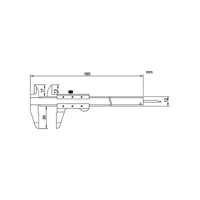 Schema di mini calibro con nonio - Cod. Accud 121.